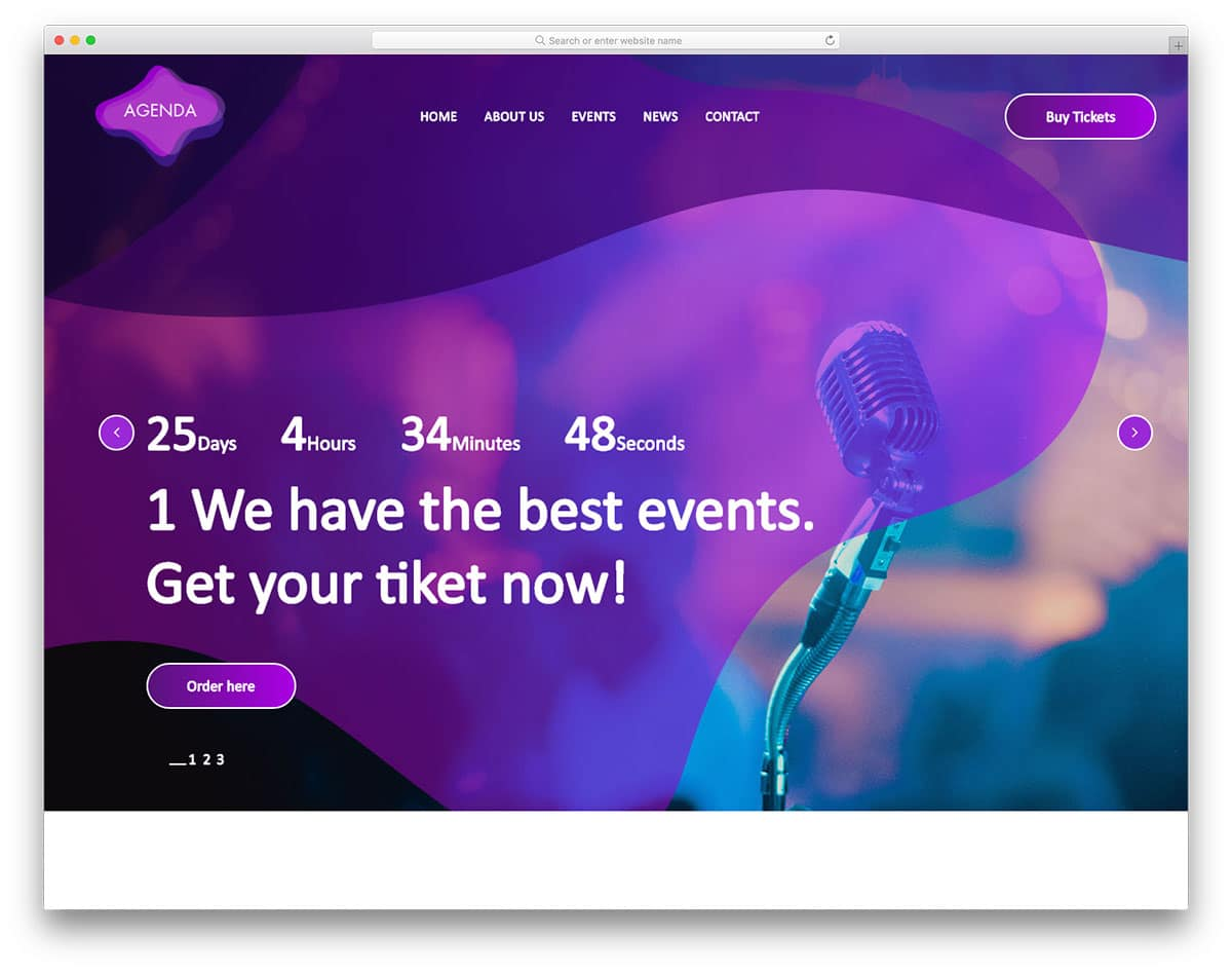 agenda-free-entertainment-website-templates
