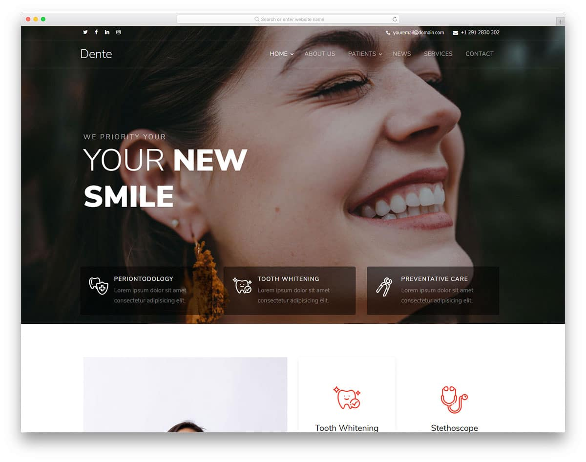 dente-free-doctor-website-templates
