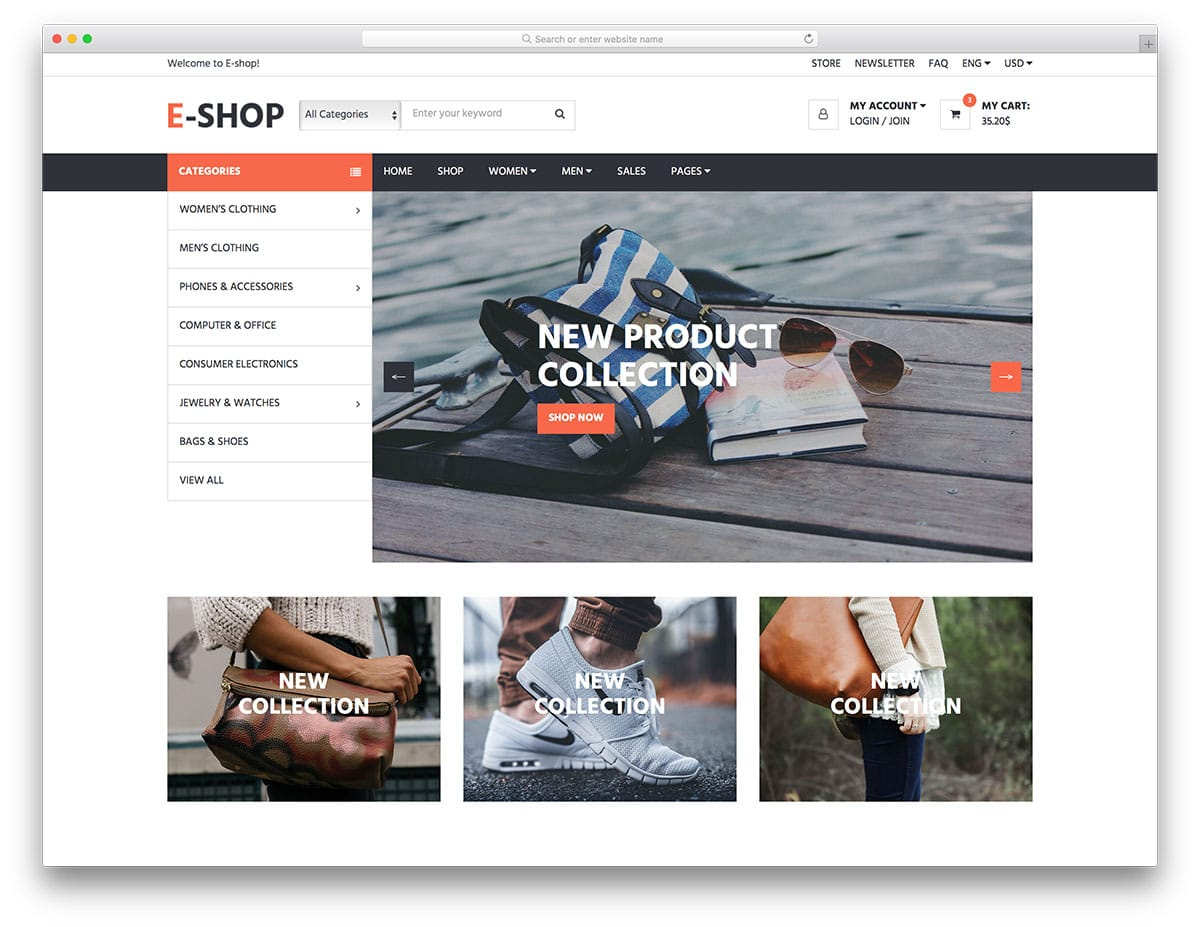 E Free Responsive Ecommerce Website Templates
