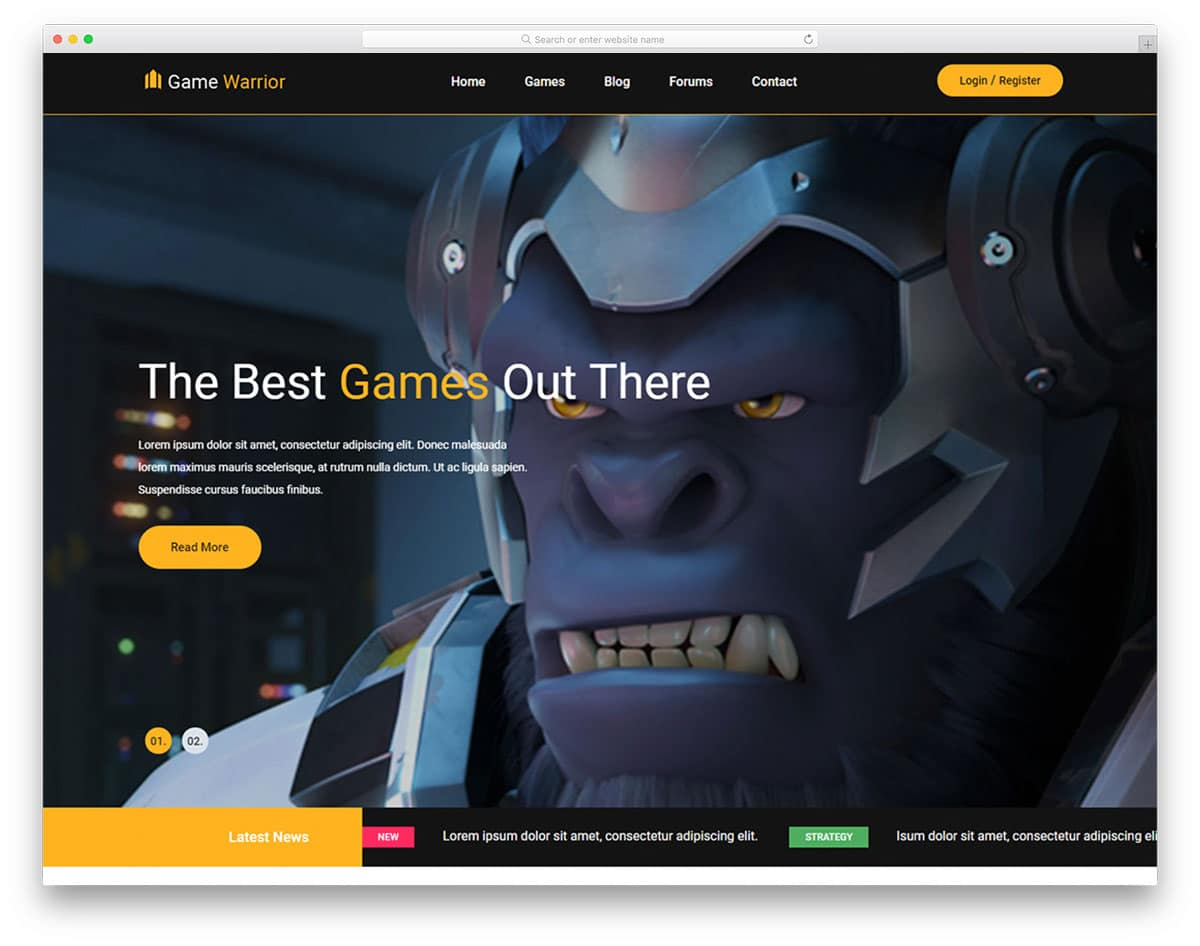 Warrior Free Entertainment Website Templates