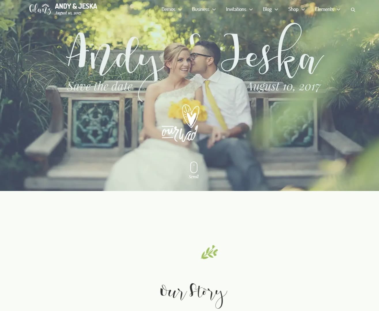 glanz wedding website template