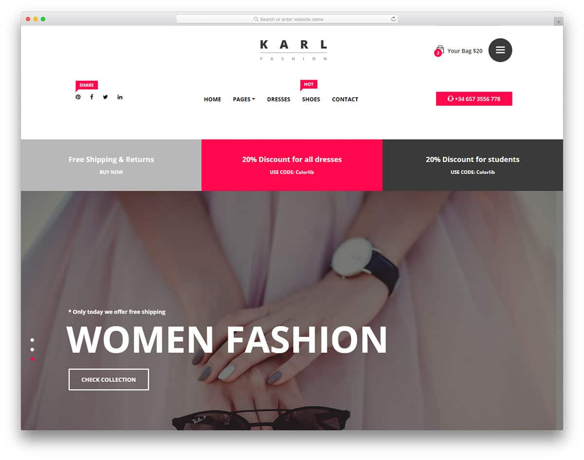 karl free ecommerce website templates