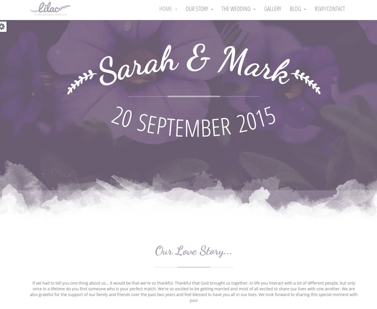 lilac wedding website template