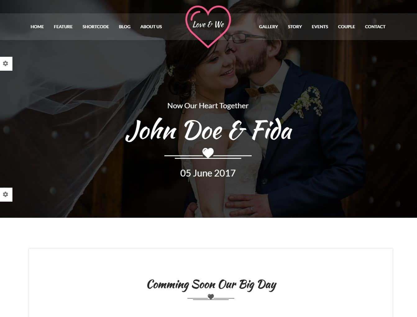 love and we wedding website template