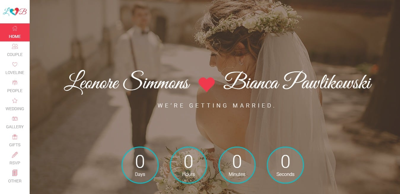 lovebird wedding website template