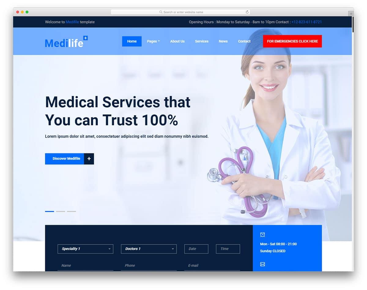 medilife-free-healthcare-website-templates