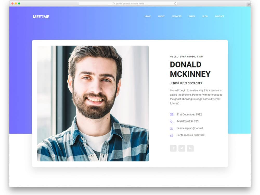 13 Free Bootstrap Html Resume Templates For Personal Cv Website 2019