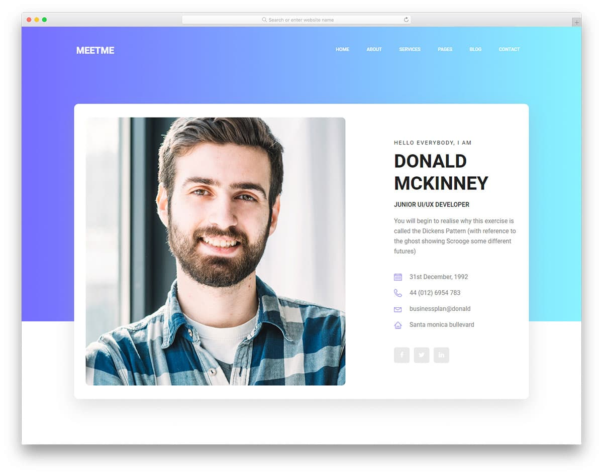 17 free bootstrap html resume templates for personal cv website 2019