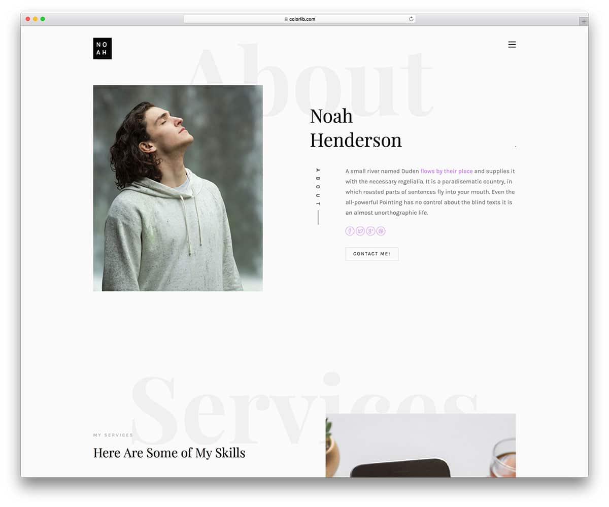 Noah Free Bootstrap Resume Templates