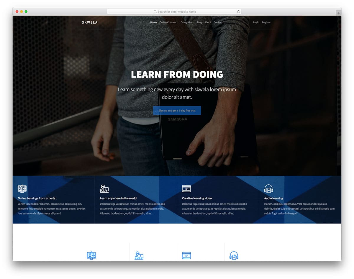 20 free bootstrap education templates for online course offering