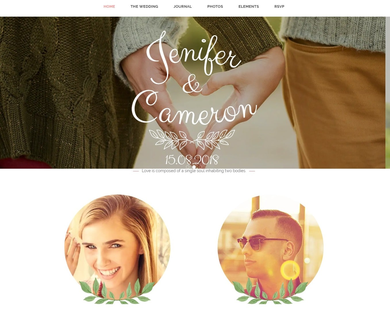 the wedding date wedding website template
