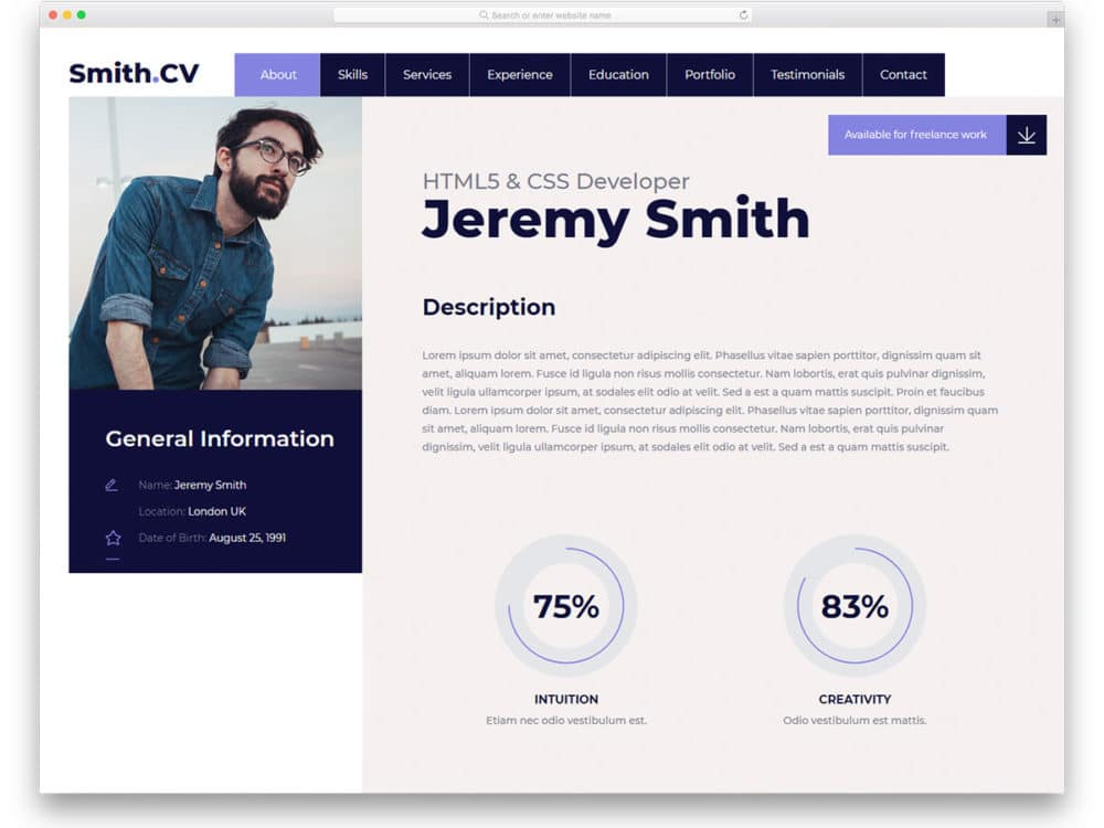27 free bootstrap resume templates for effective job hunting 2019