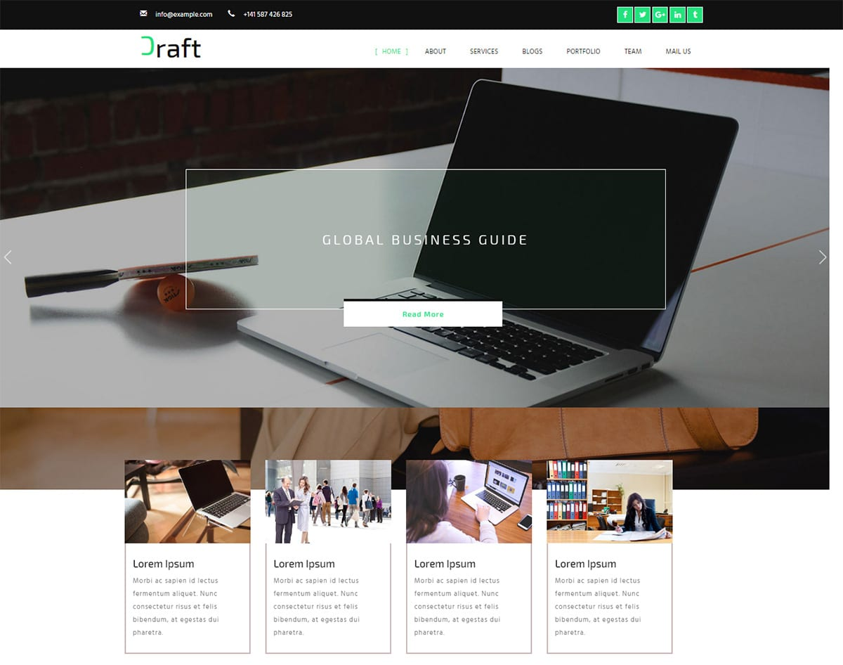 Craft bootstrap website template with video background