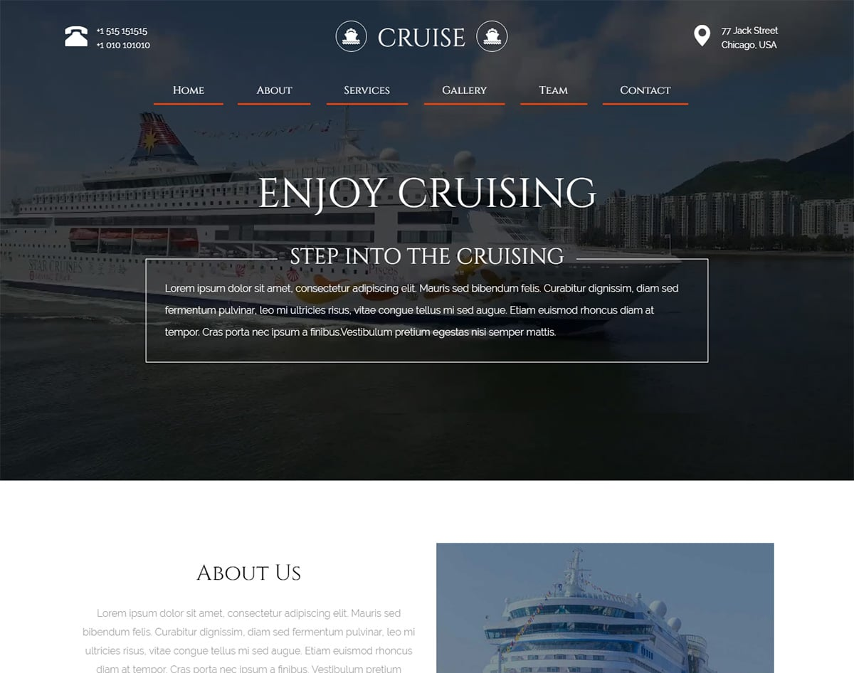 Cruise. bootstrap website template with video background