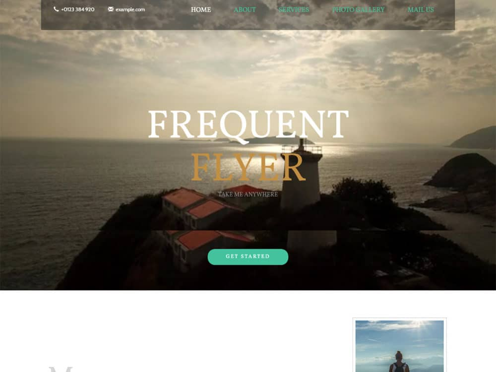 Frequent-flyer bootstrap website template with video background