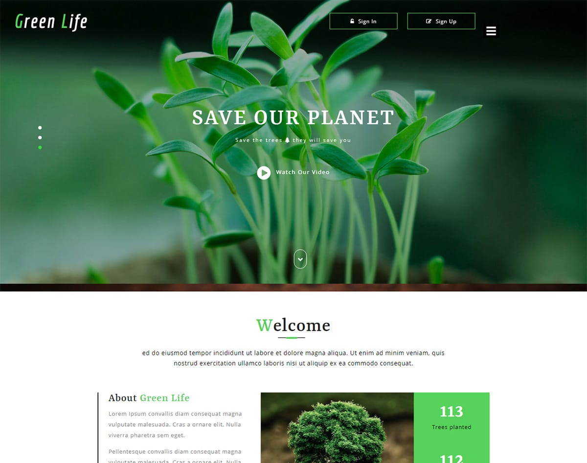 Green-life bootstrap website template with video background