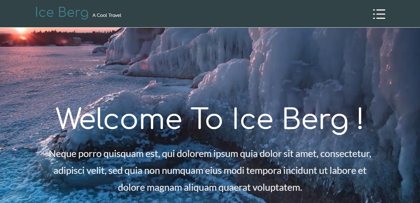 Ice berg bootstrap website template with video background