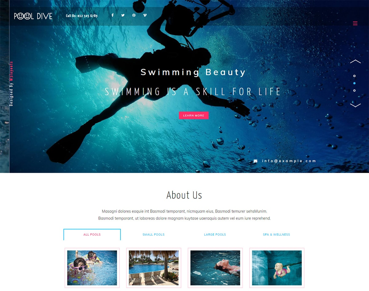 Pool-dive bootstrap website template with video background