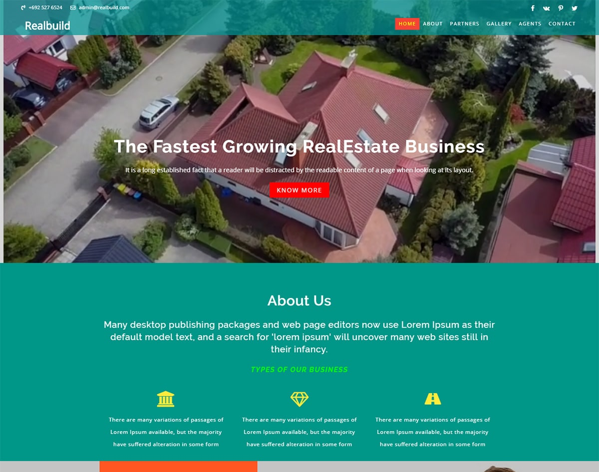 Realbuild bootstrap website template with video background