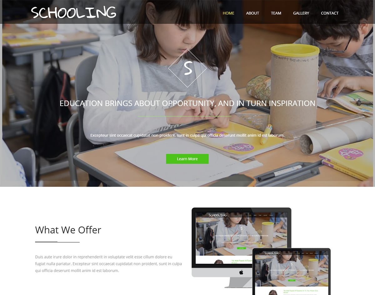 Schooling bootstrap website template with video background