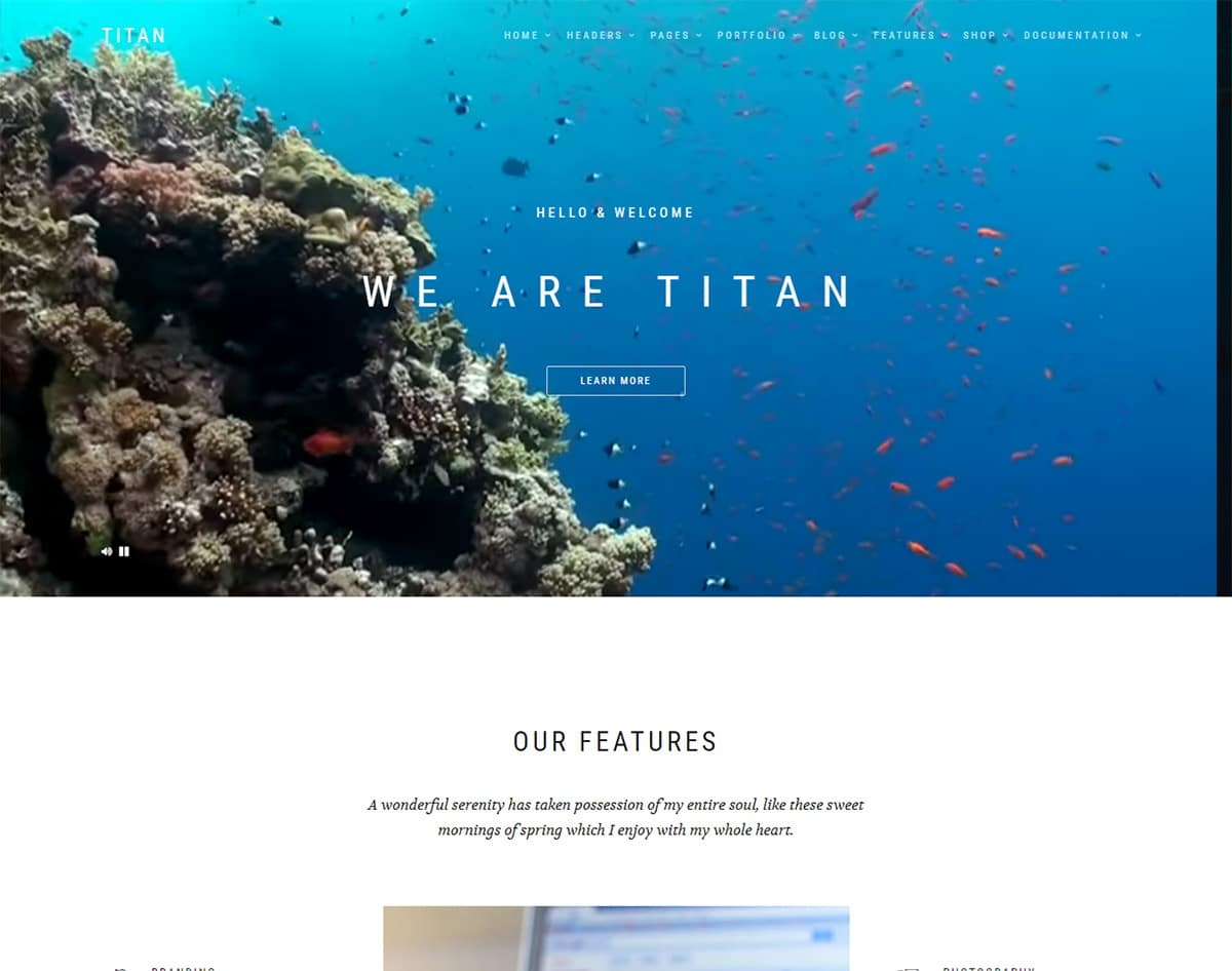 Titan bootstrap template with video background