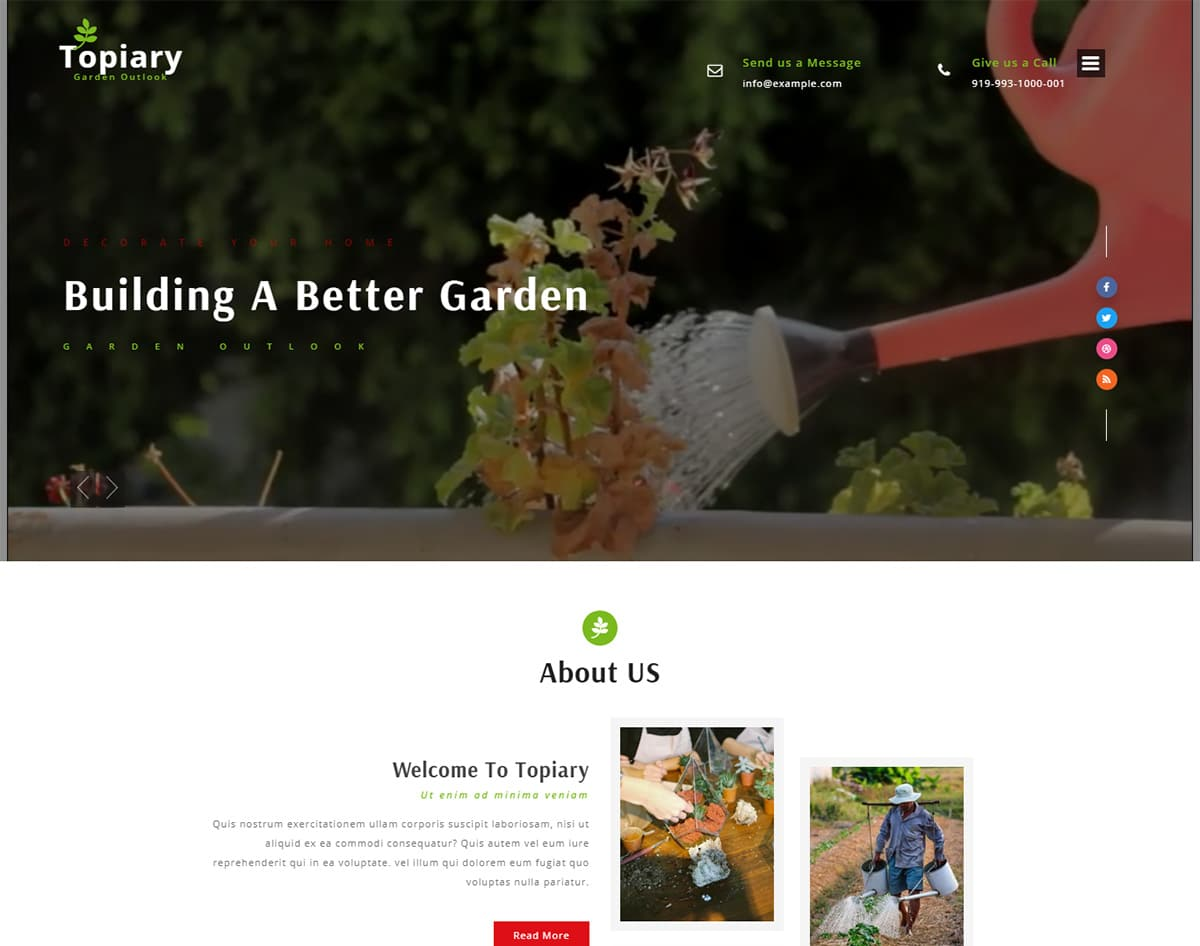 Topiary bootstrap website template with video background