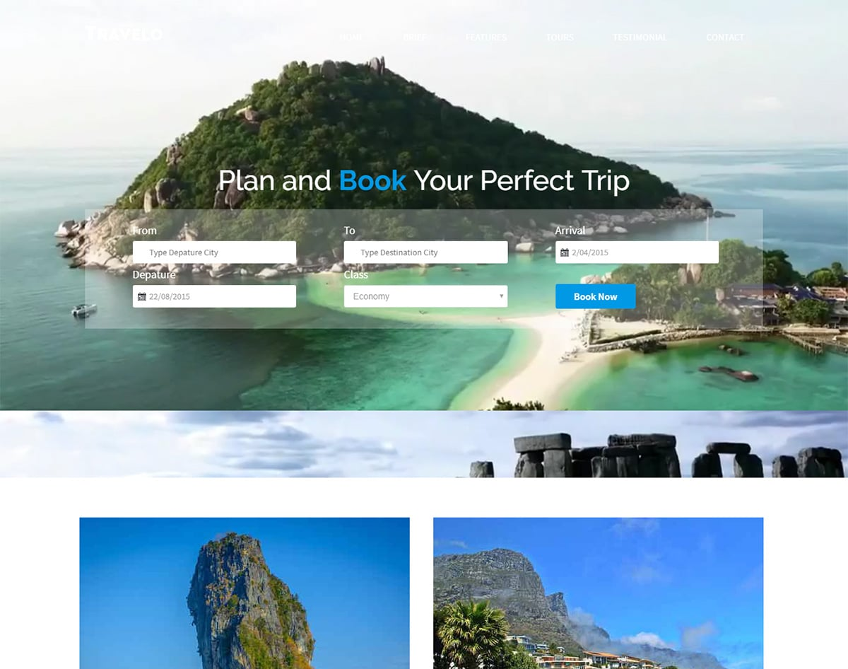 Travelo bootstrap website template with video background