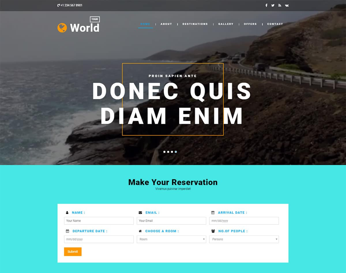 World-Tour bootstrap website template with video background