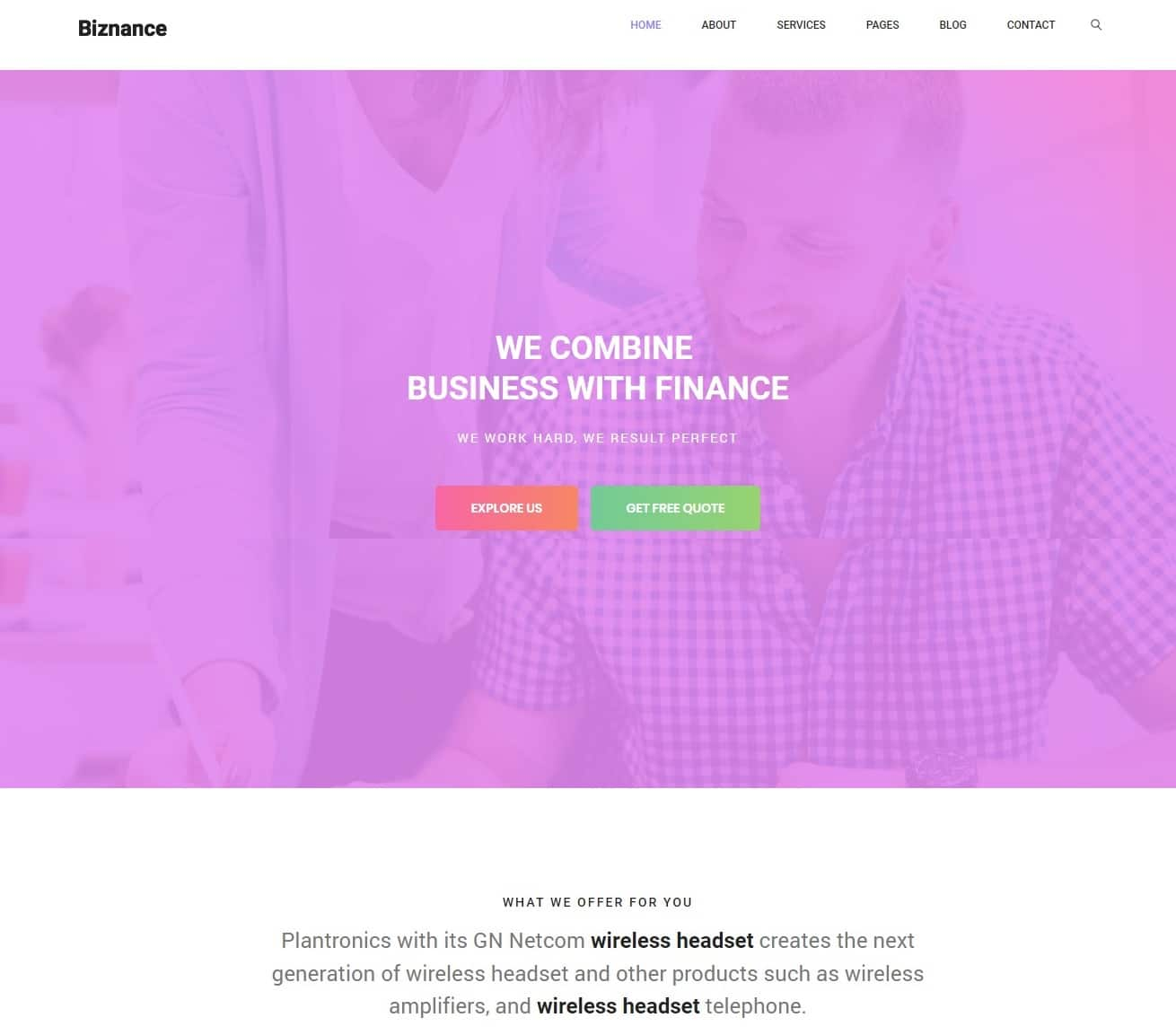 biznance transportation website template