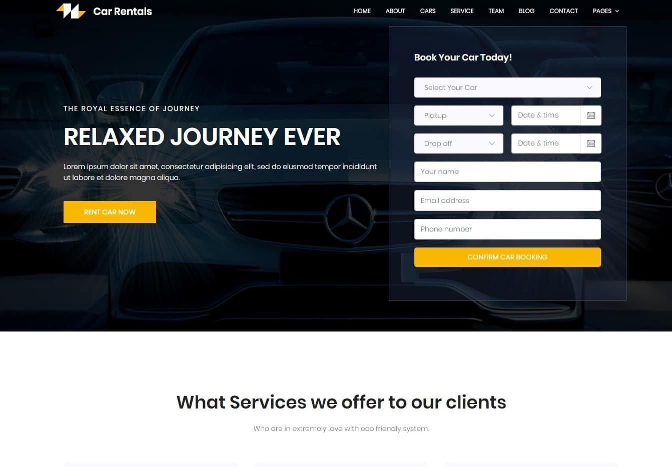 car rentals transportation website template