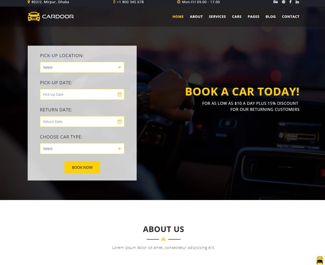 cardoor transportation website template