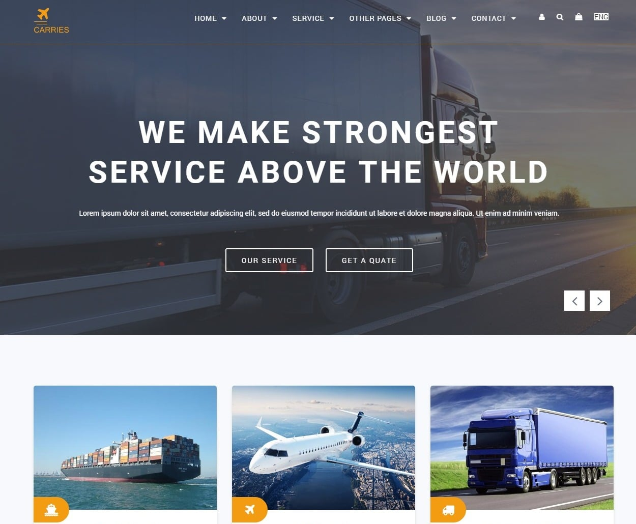 carries rentals transportation website template