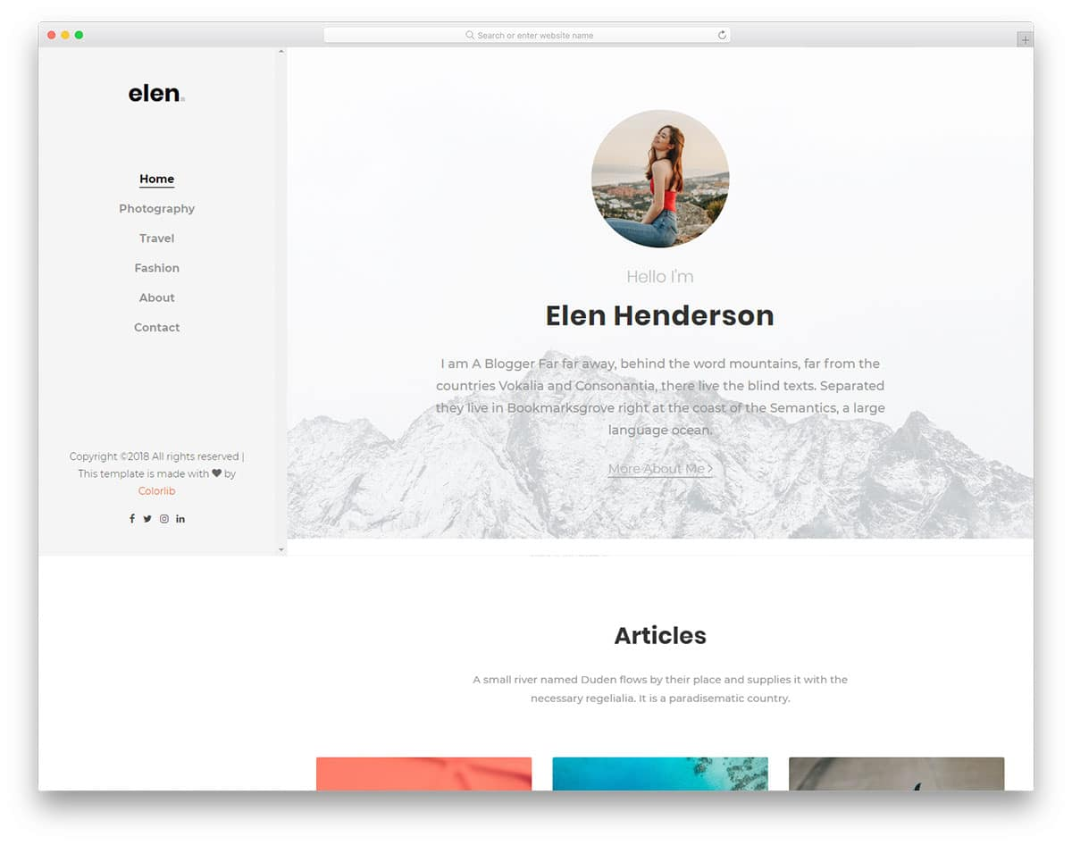 elen-free-personal-website-templates