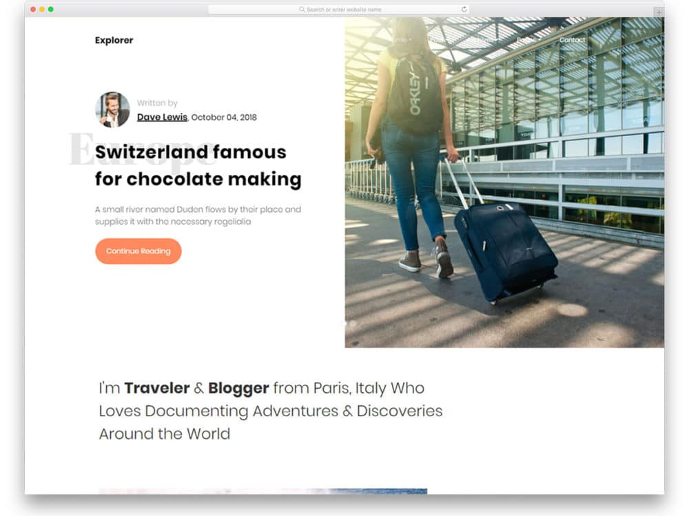 explore-free-bootstrap-personal-website-template