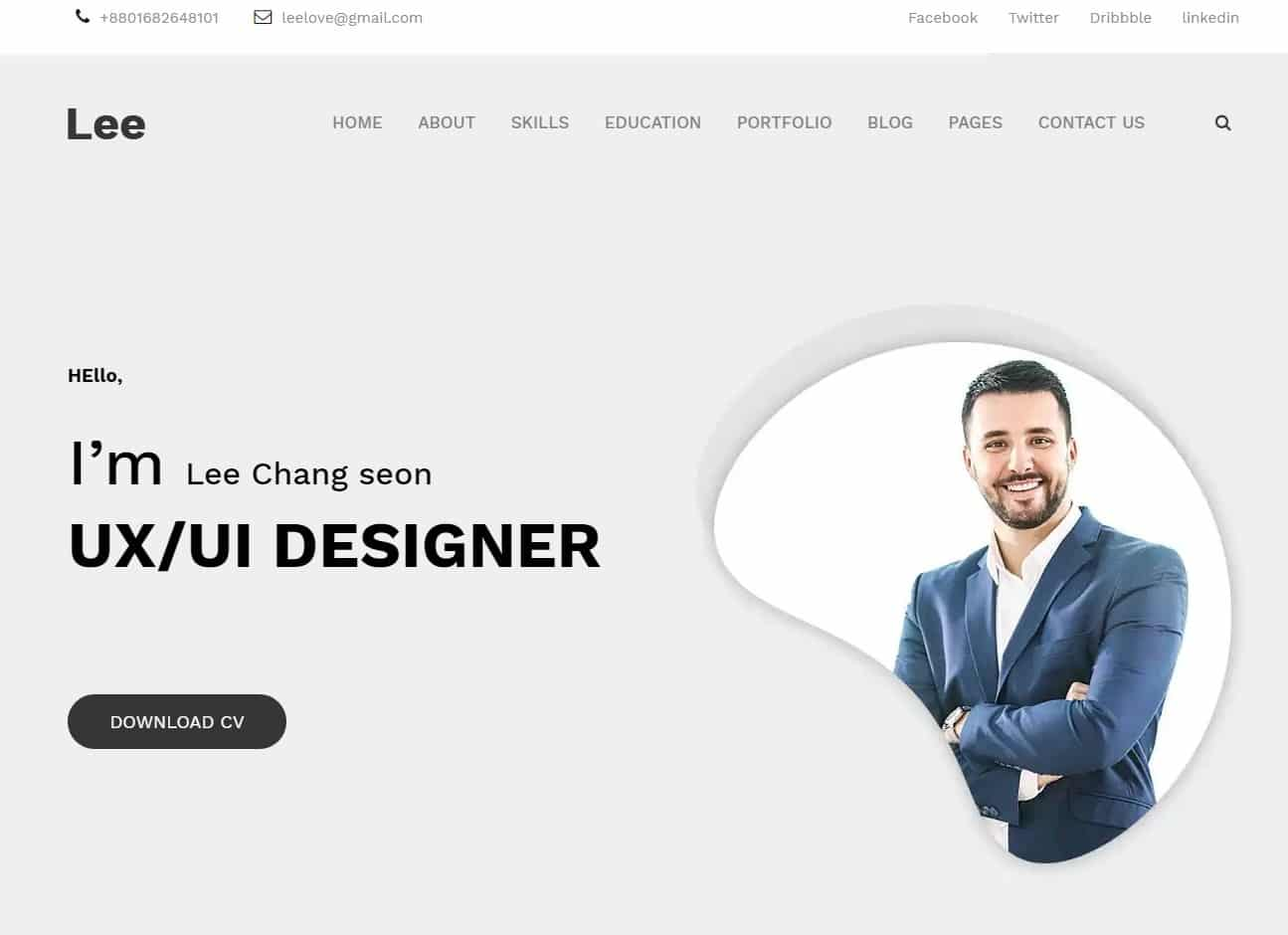 lee simple website template