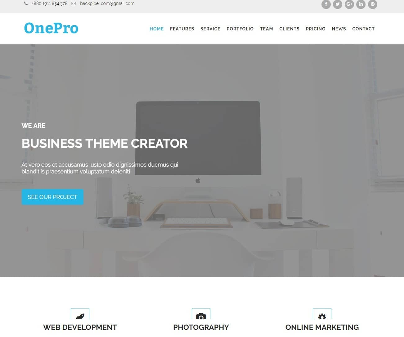 one pro transportation website template