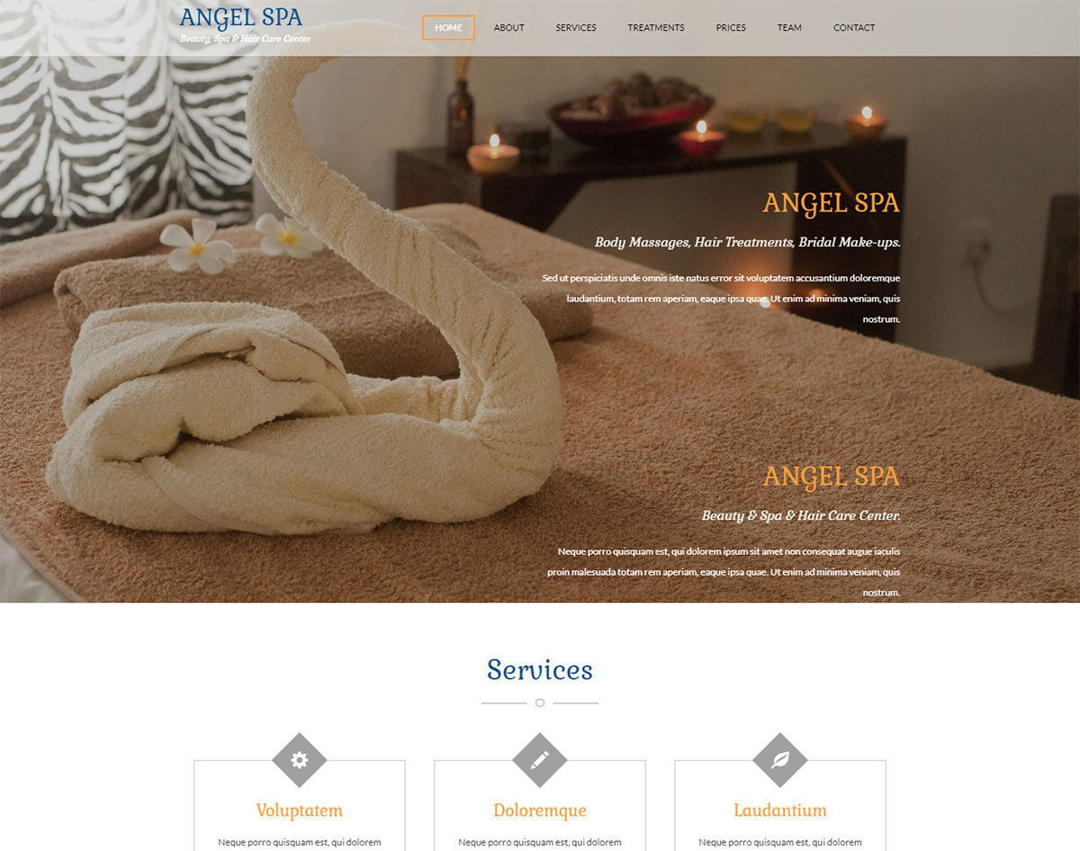 spa and beauty salon website templates - angel spa