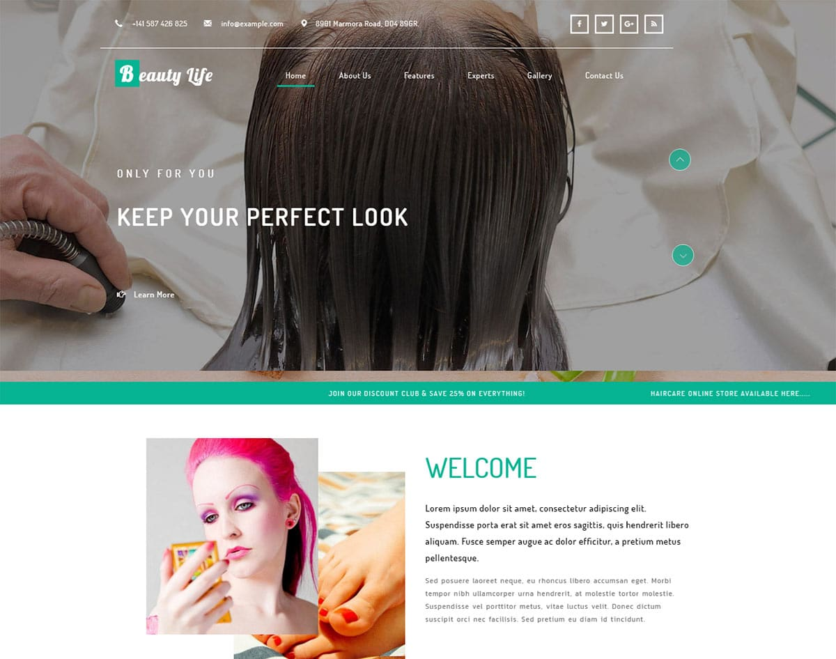 spa and beauty salon website templates - beauty life