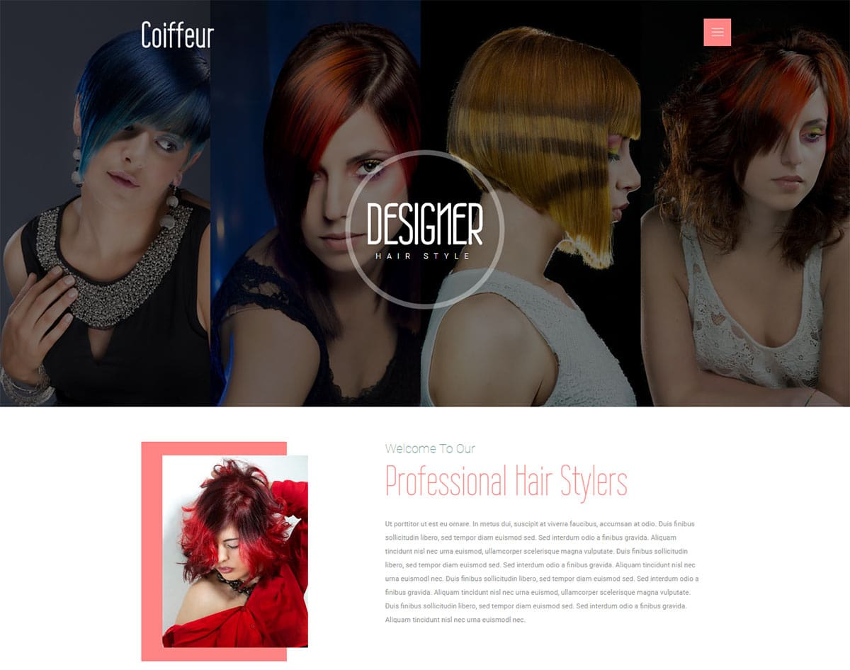 spa and beauty salon website templates - coiffeur