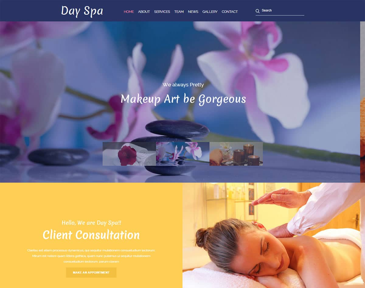 spa and beauty salon website templates - day spa