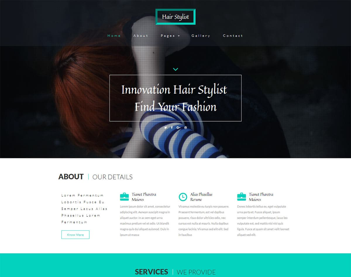 spa and beauty salon website templates - hair stylist