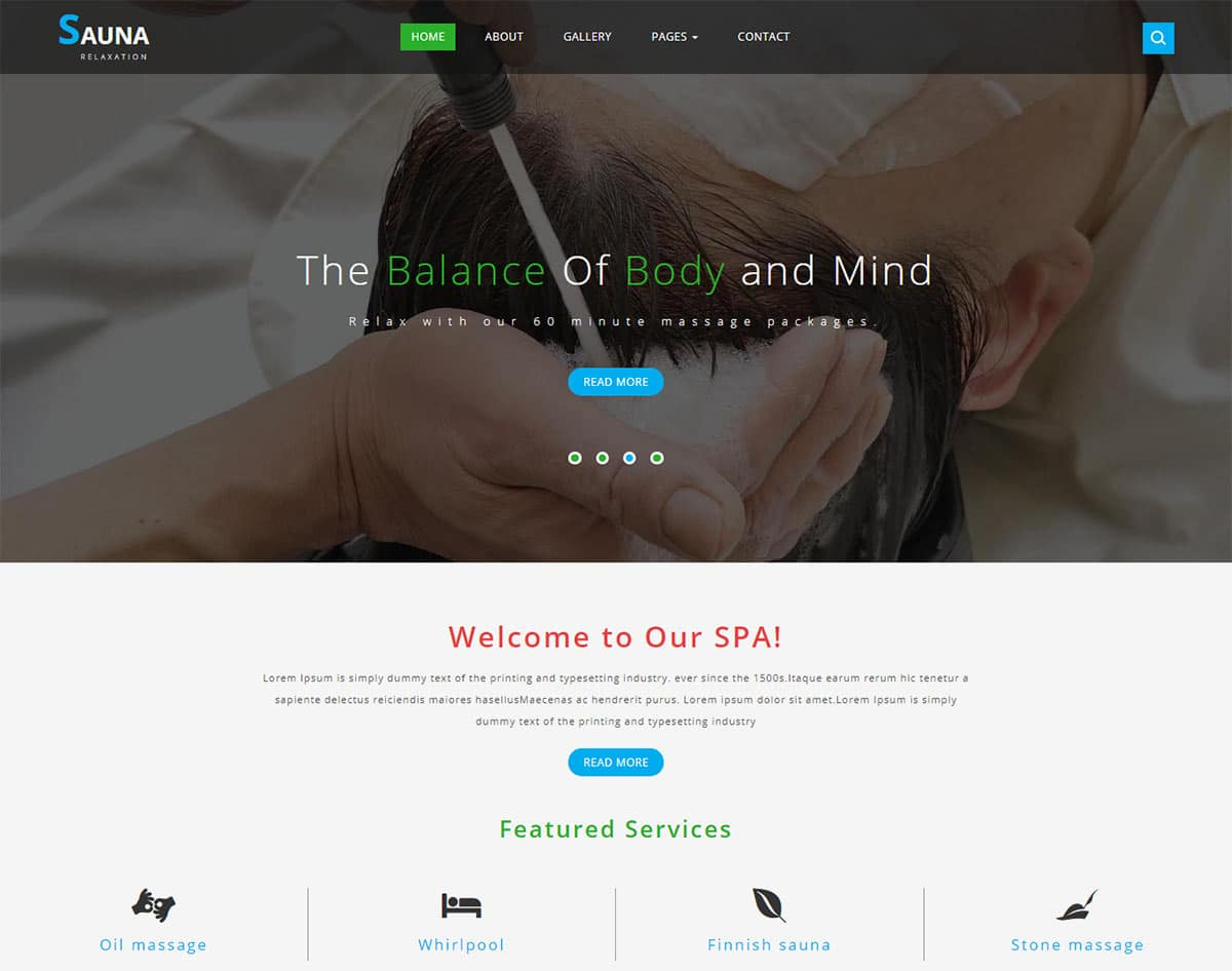 spa and beauty salon website templates - sauna