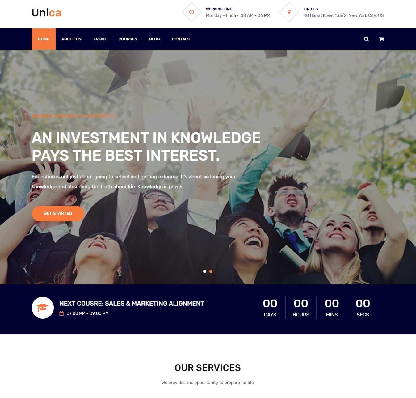 unica-free-kindergarten-website-template