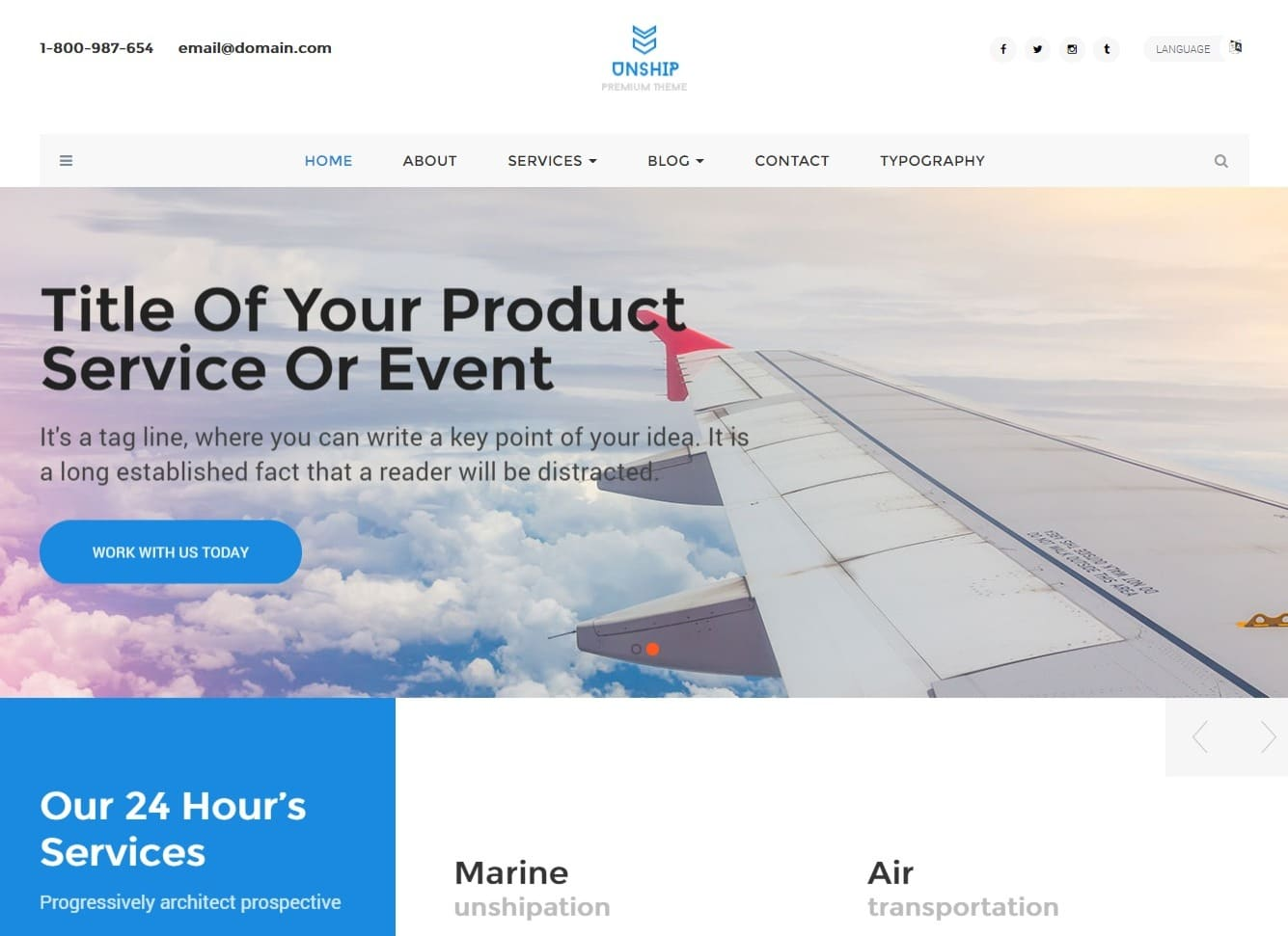 unship transportation website template
