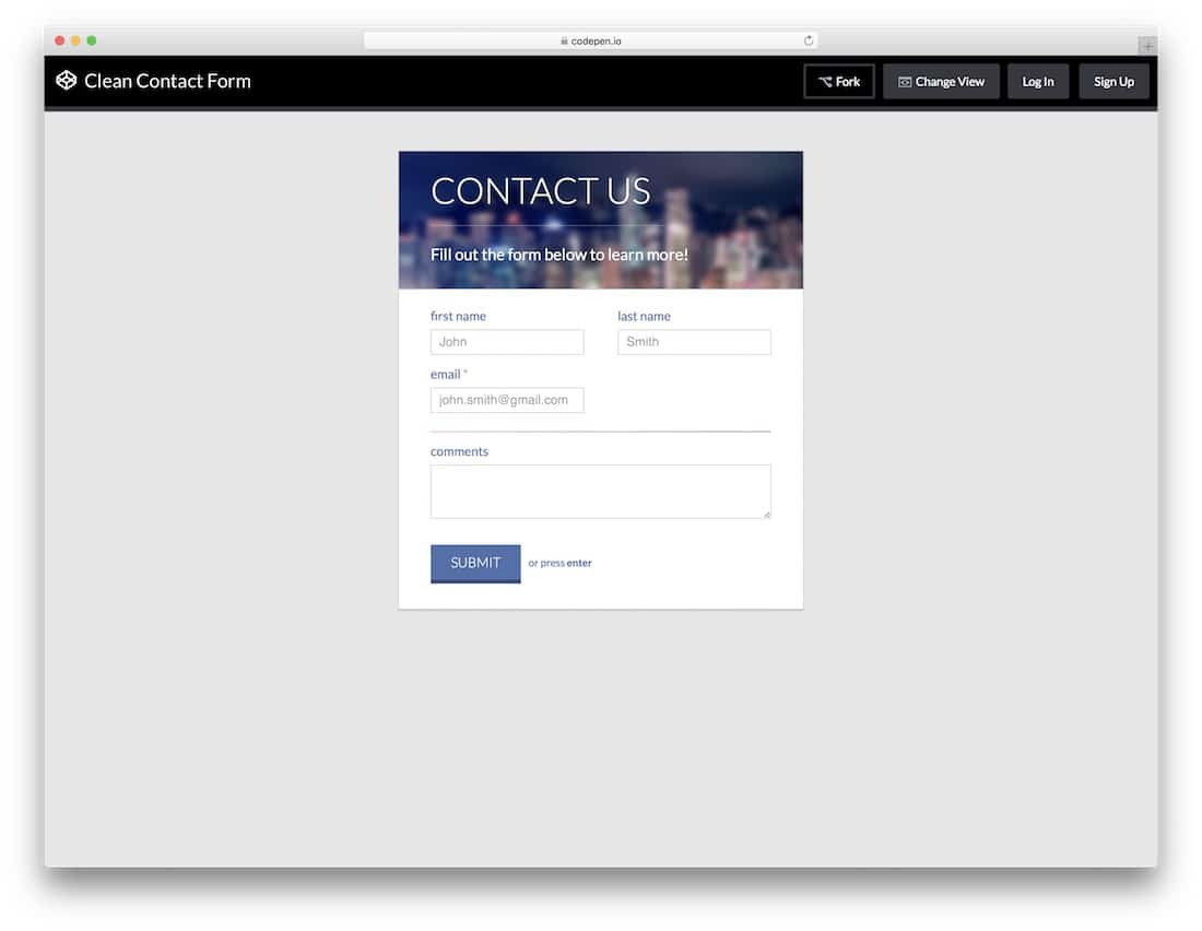 Clean-Contact-Form-template