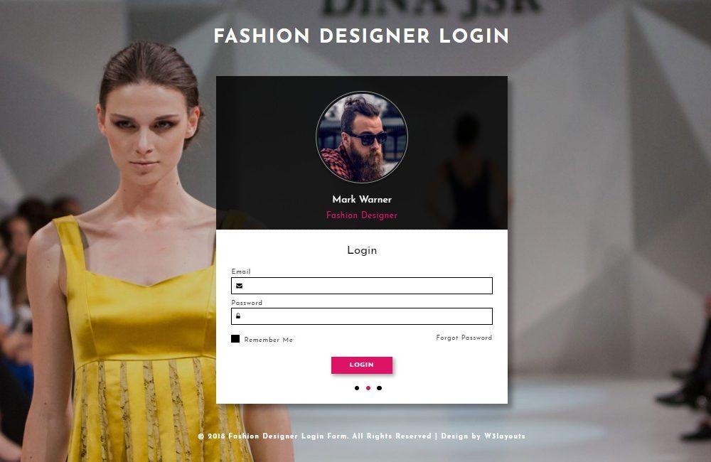 form website templates fashion designer login form