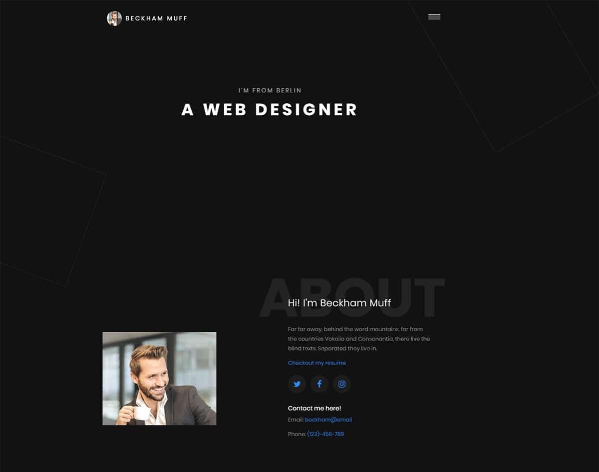 free simple website template - beckham