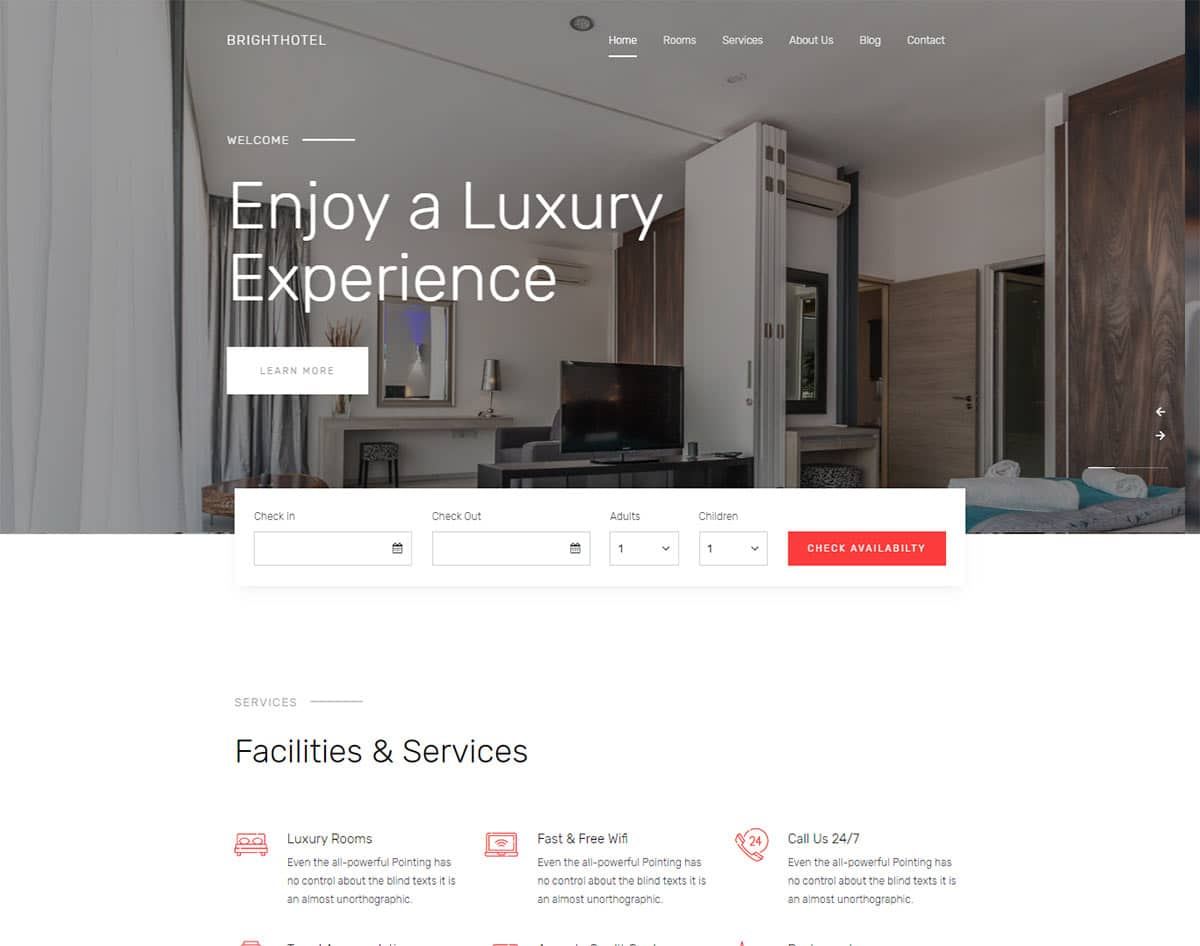 free simple website template - brighthotel