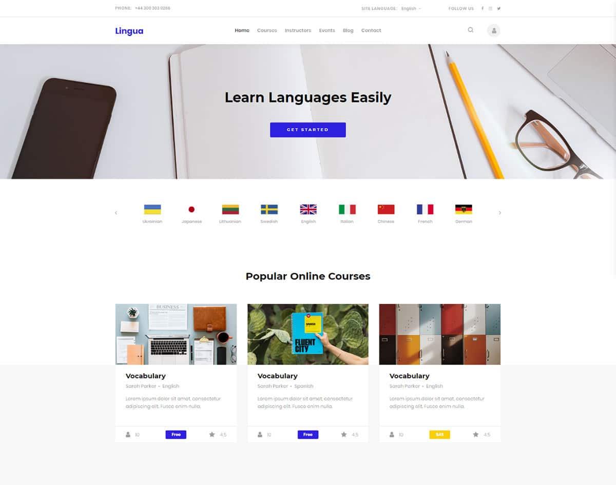 free simple website template - lingua