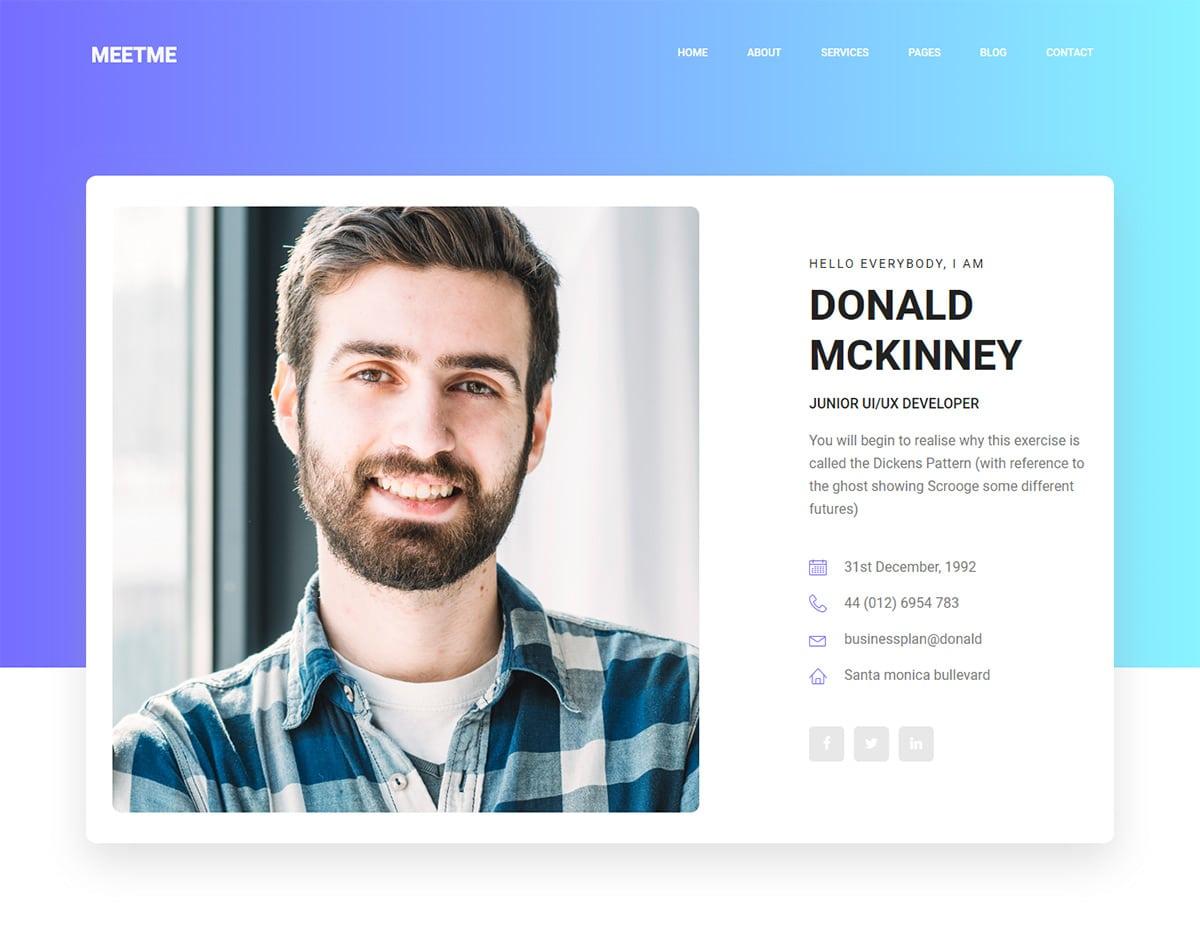 free simple website template - meetme